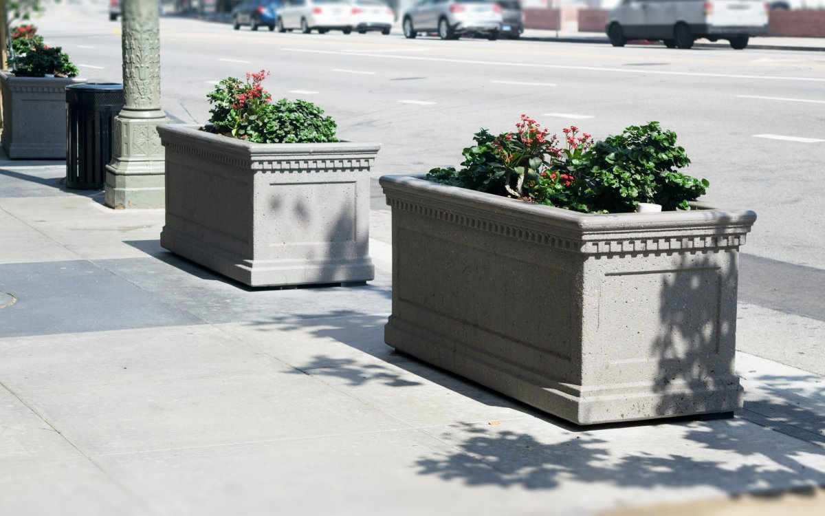 Image of planters along the sidewalk with drought-tolerant plants