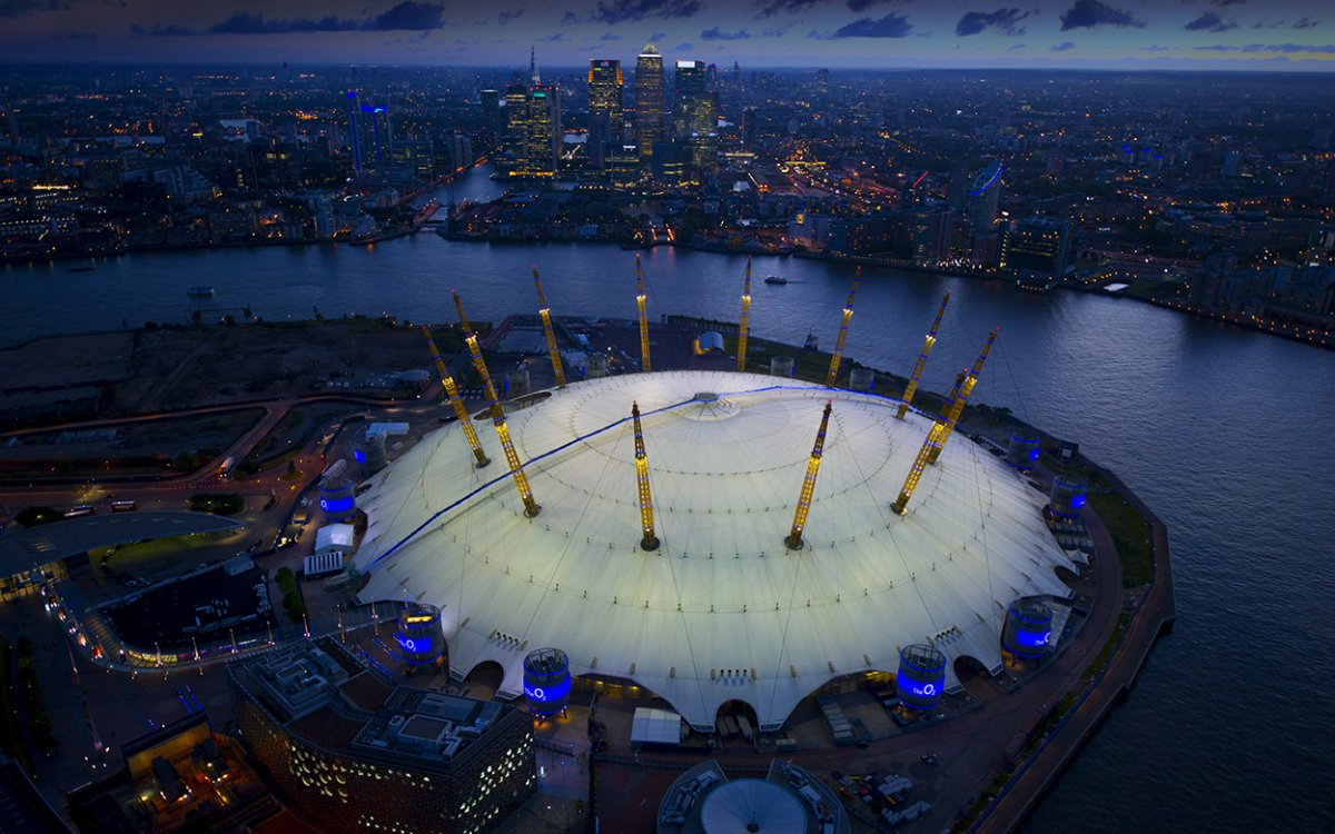 Aerial image of the O2 at night