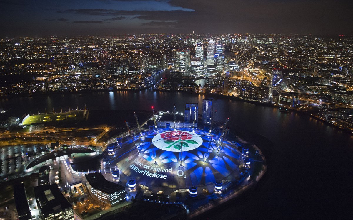 "Overhead image of the O2 in London with a rose on the top and copy reading ""Come On England #WearTheRose"""