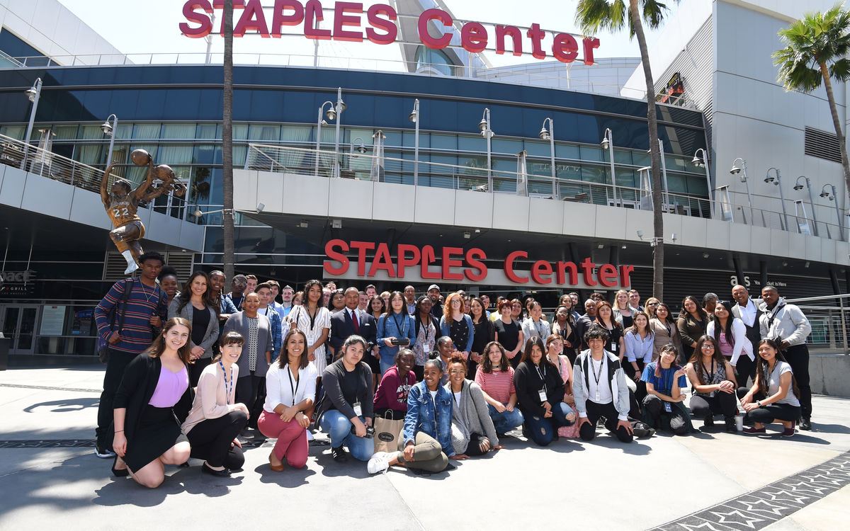 More than 30 students from John Muir High School in Pasadena gather in front of STAPLES Center with their AEG employee mentors during the Arroyo Seco Weekend Job Shadow Day on May 3, 2018.