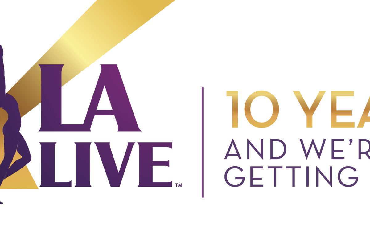 "L.A. LIVE Anniversary logo that reads ""10 years and we're just getting started"""