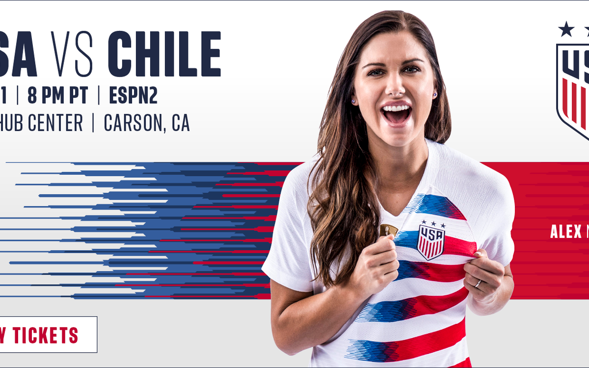 Alex Morgan cheers in a promotional shot with USA vs. Chile and the US National Soccer Team logo in the corner.