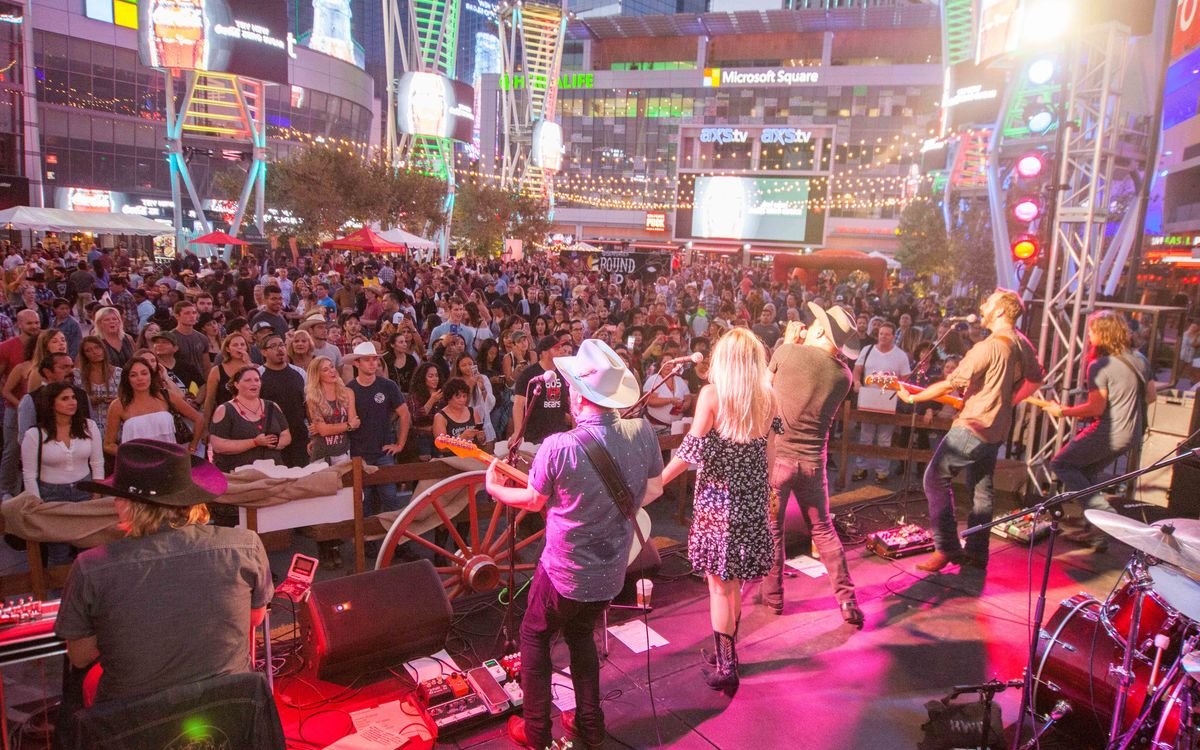 Crowds gather around the stage of country performers at L.A. LIVE during Round Up.