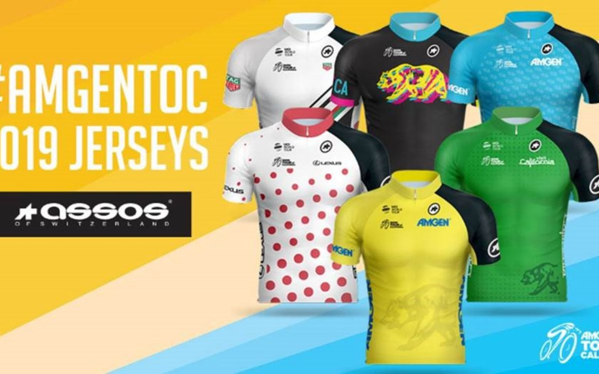 Graphic with five race jerseys and the ASSOS logo, the official race jersey sponsor for the 2019 Amgen Tour of California