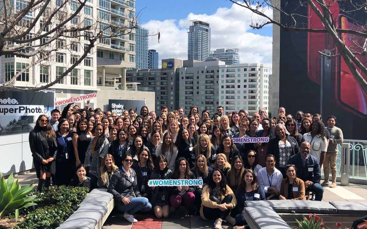 AEG employees gather for a group photo following an International Women's Day Event on the Terrace of The GRAMMY Museum.
