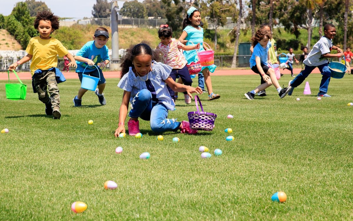 Children race around the field during the 13th Annual Easter Egg Hunt and Earth Day Celebration at Dignity Health Sports Park hosted by AEG's ASCSC Community Foundation and the LA Galaxy Foundation on April 19, 2019.