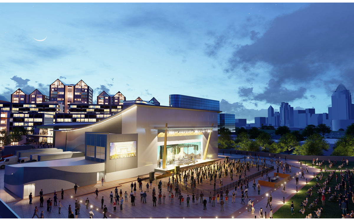 A rendering of the Ovation Project depicts crowds of people watching a concert at the outdoor venue located n the Ohio River across from downtown Cincinnati.