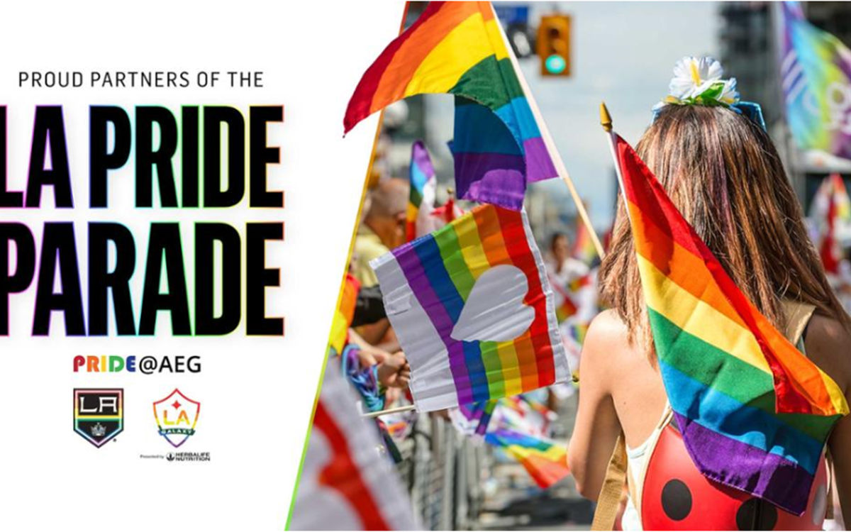 "Graphic depicting a parade-goer with rainbow flags and text that reads ""Proud Partners of the LA Pride Parade."""