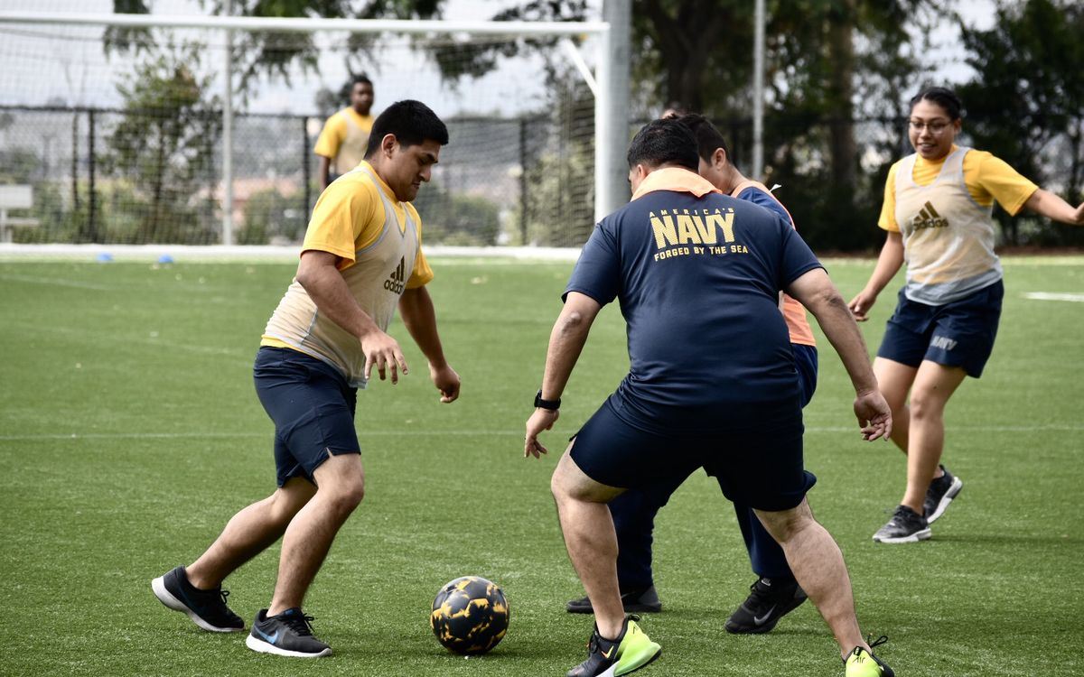 Members of the United States Navy have a soccer scrimmage on the pitch at Dignity Health Sports Park with the LA Galaxy during LA Fleet Week on August 28, 2019.