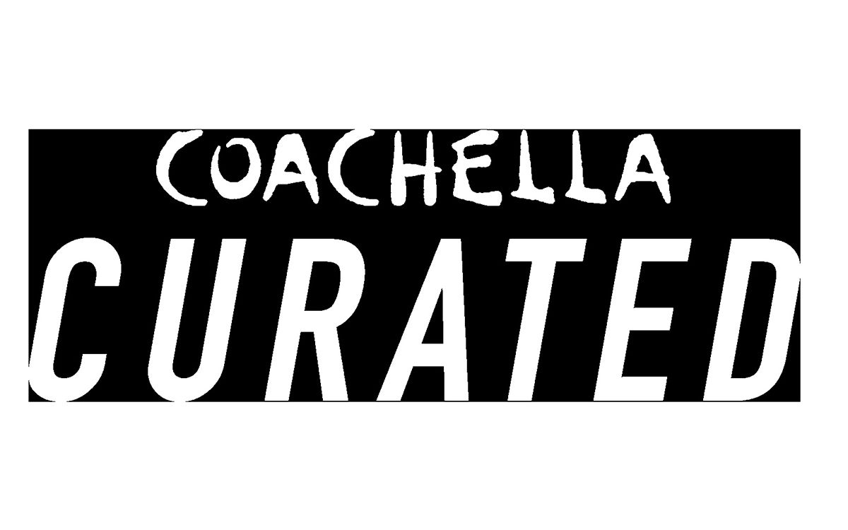 The words Coachella Curated appear in white in front of a black background.