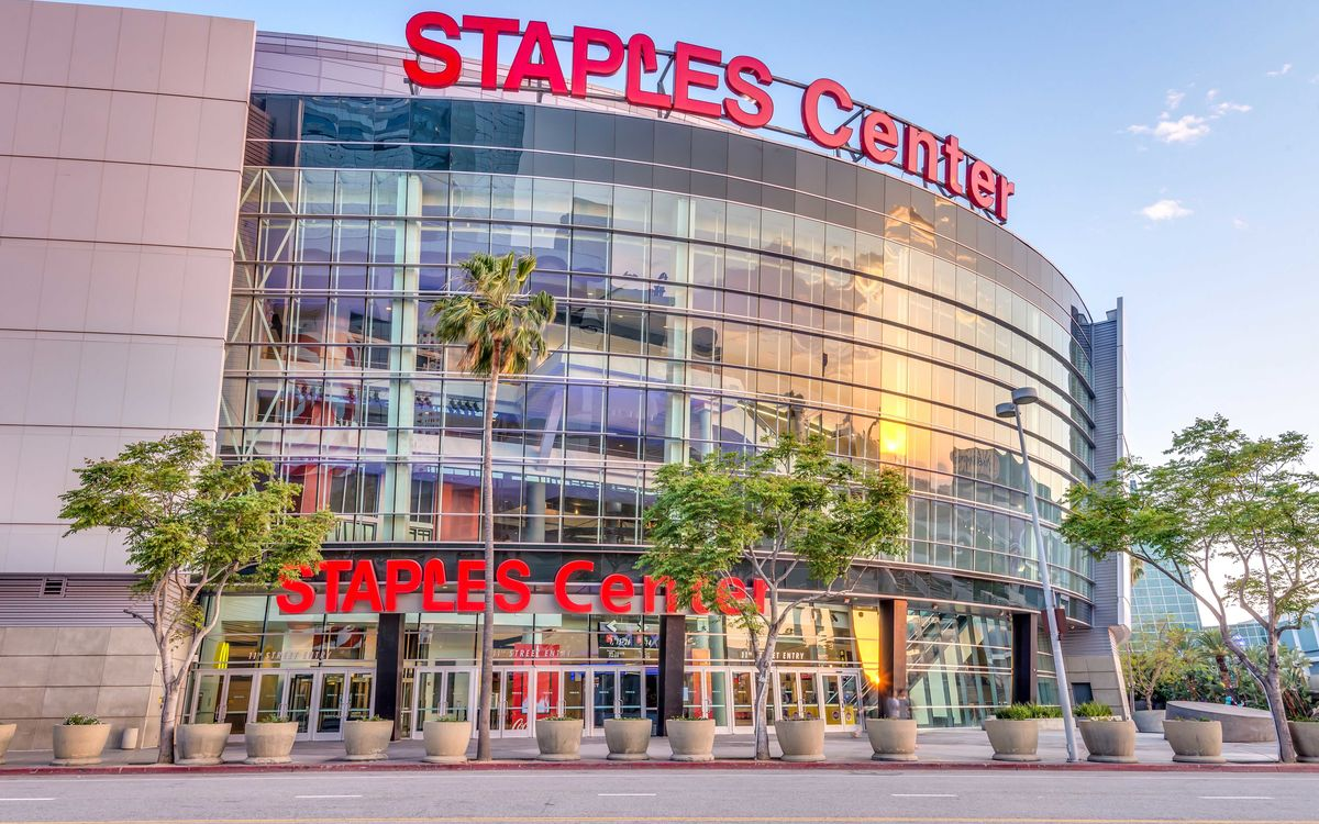 STAPLES Center with a sunset reflecting in the windows.