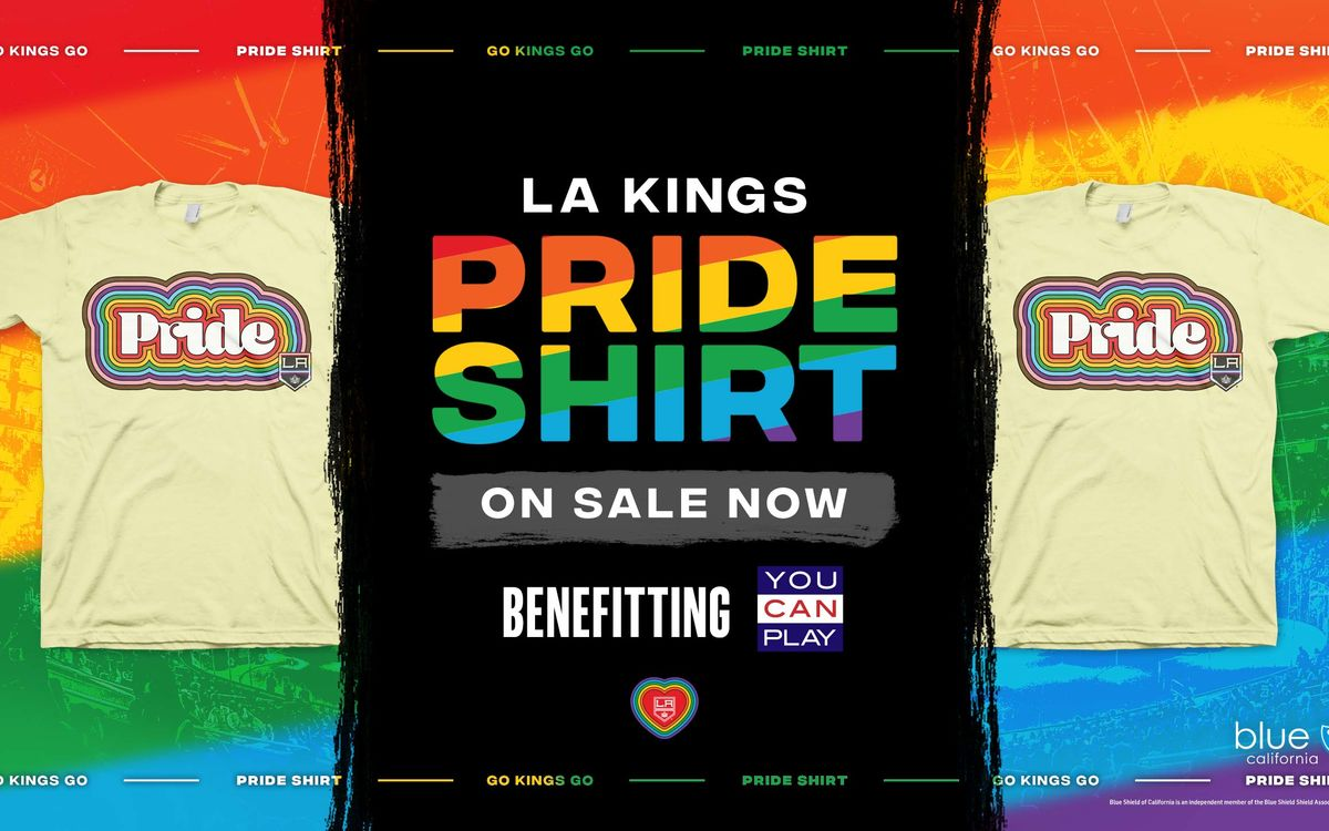 "LA Kings yellow Pride Shirts appear in front of a rainbow design with graphics saying ""LA Kings Pride Shirt On Sale Now"""