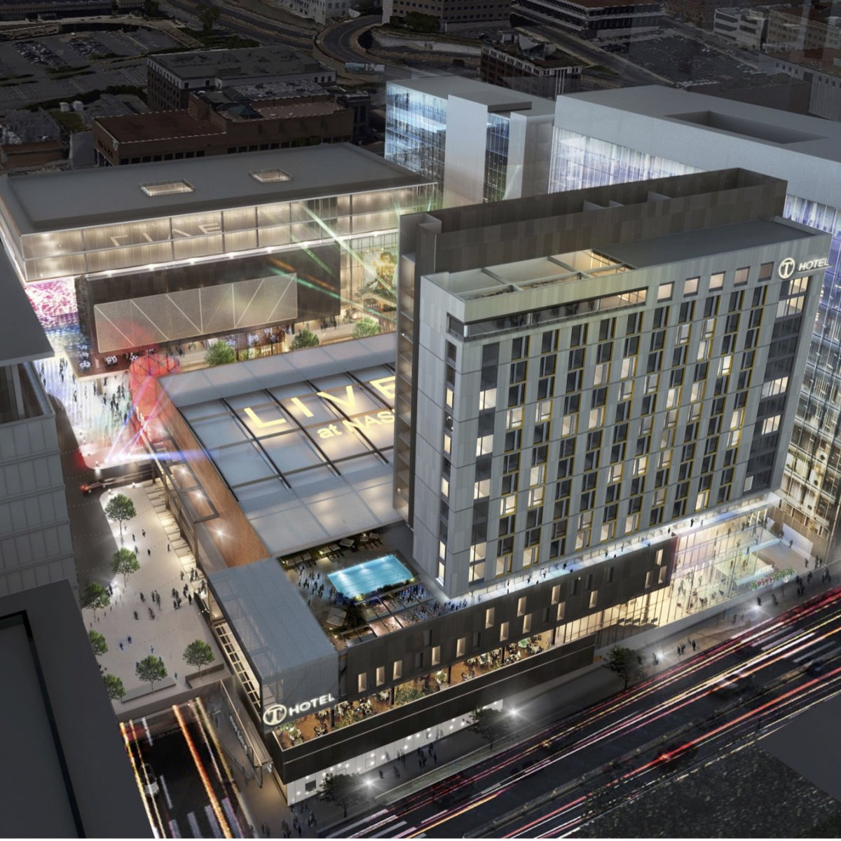 Rendering of Nashville Yards District at night