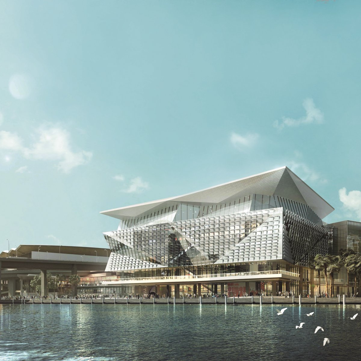 Exterior Image of International Convention Center Sydney during the day on the water