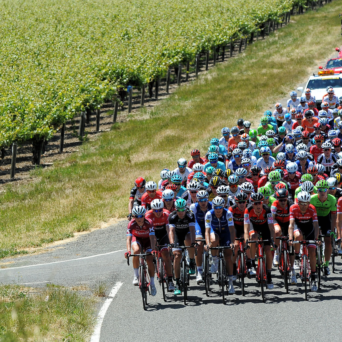 Group of bikes during Amgen Tour of California