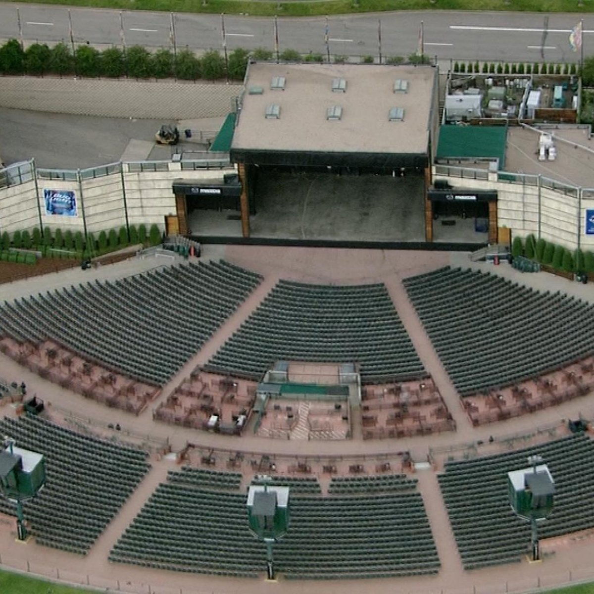 Overhead image of Fiddler's Green Ampitheatre during daytime, empty.