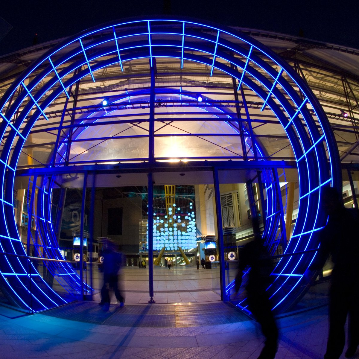 Entrance to Indigo at the O2 at night