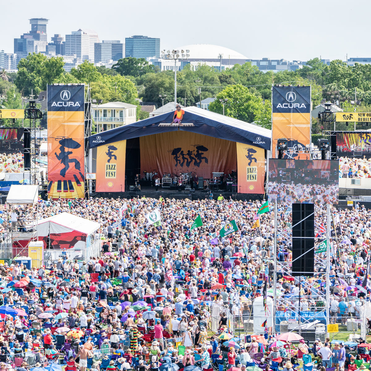 Aerial image of the crowd and stage at the music festival