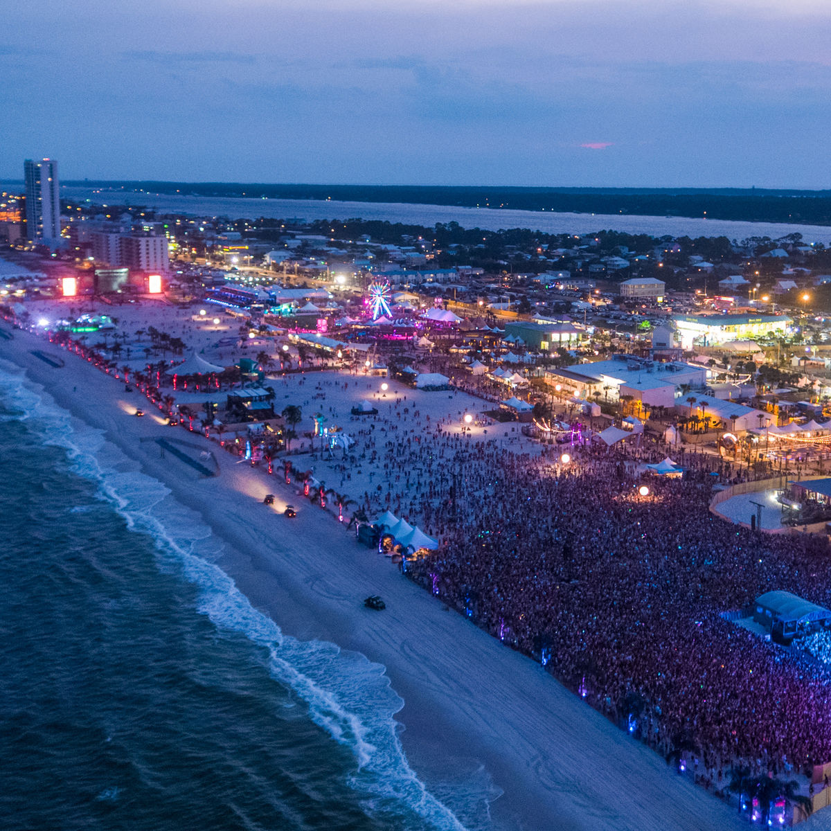 Aerial image of Hangout Music Festival crowd and stage on the beach