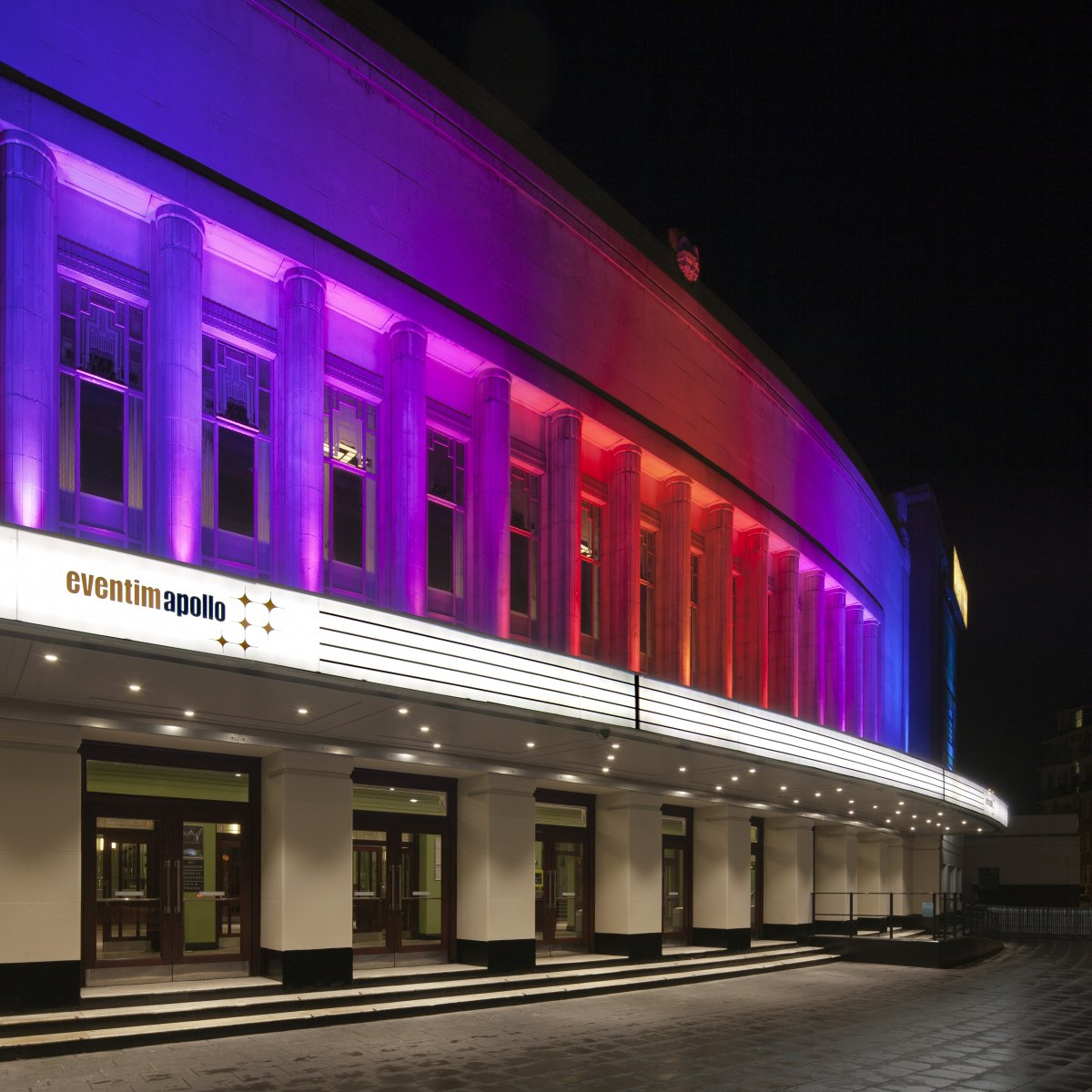 Exterior Image of Eventim Hammersmith Apollo in London at night