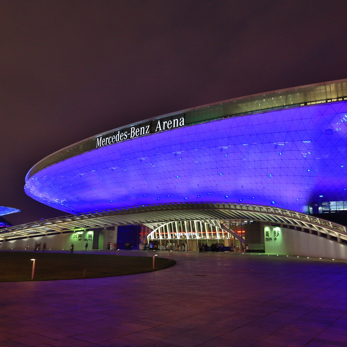 Exterior Image of Mercedes-Benz Arena in China at night