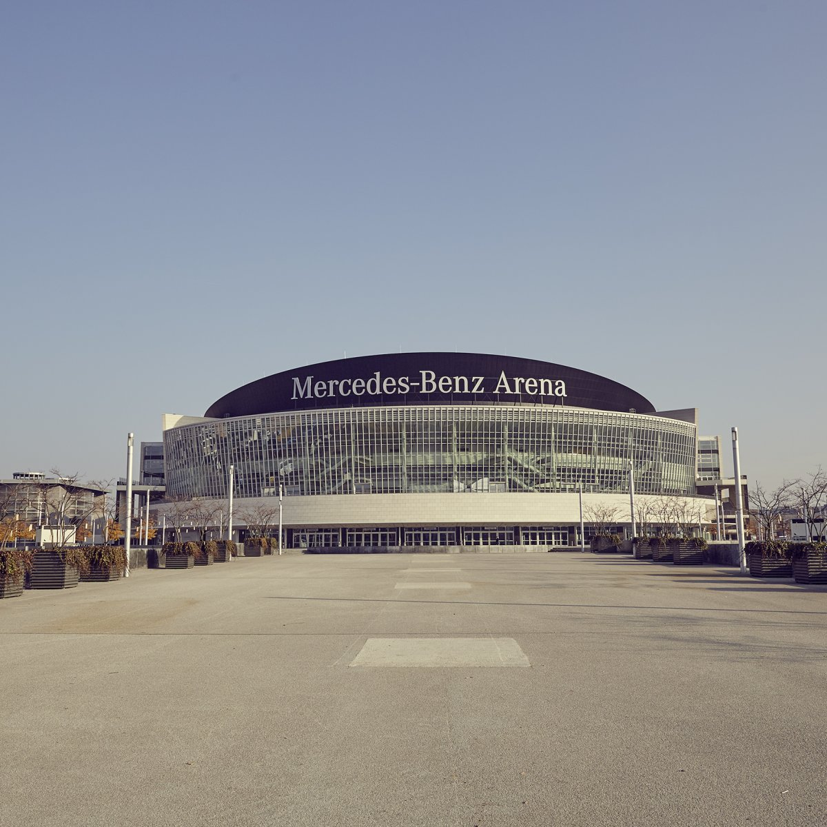 Exterior image of Mercedes Benz Arena in Berlin during the day