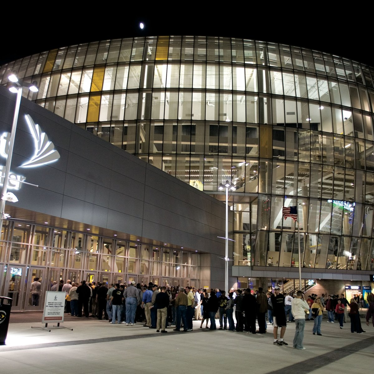 Exterior Image of Sprint Center at night