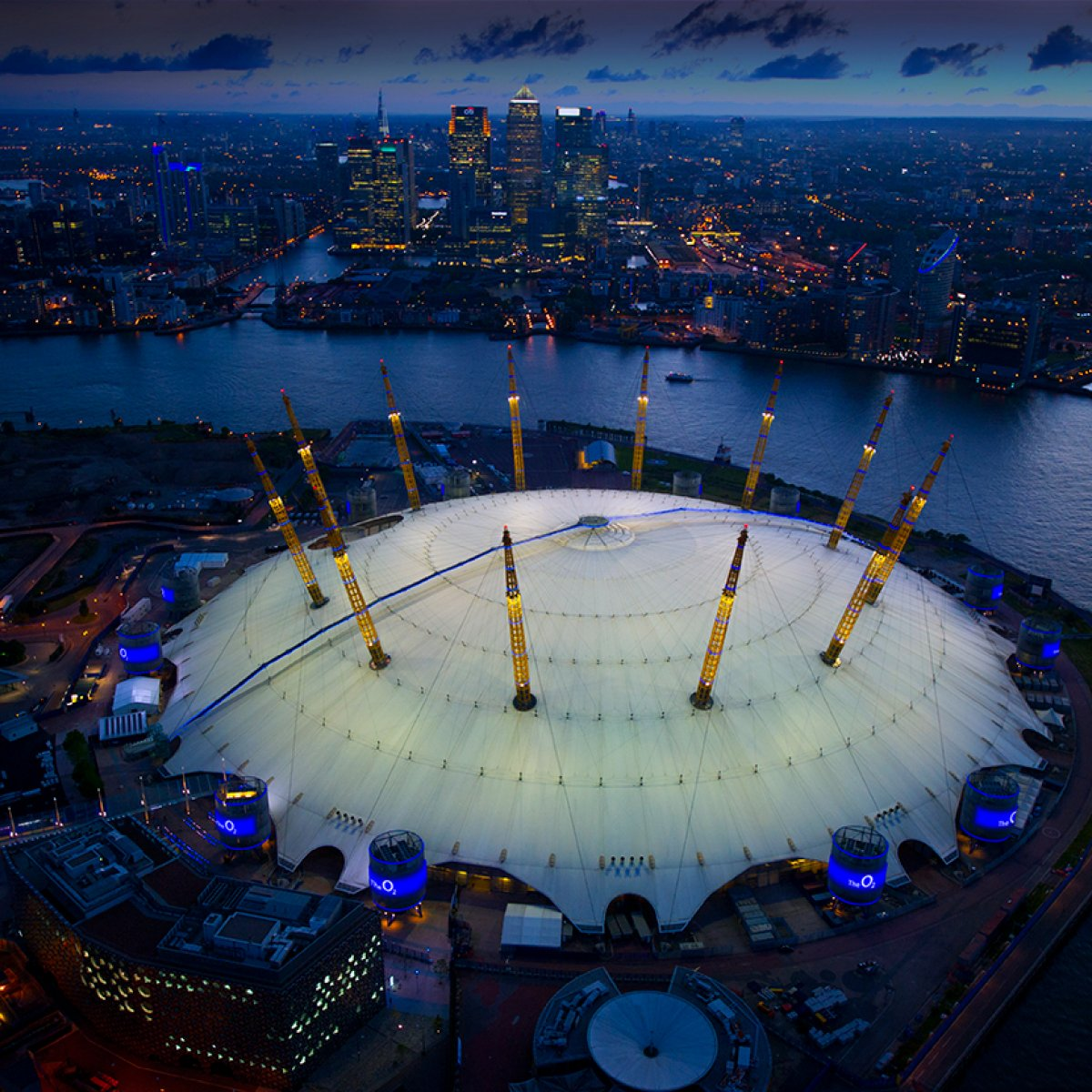 Exterior image of the O2 at dusk