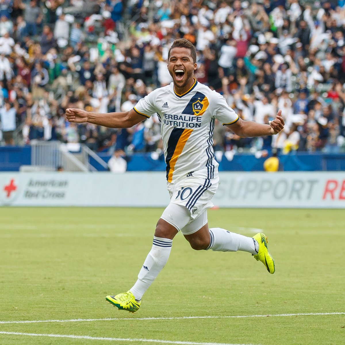 Galaxy soccer player celebrating on the field